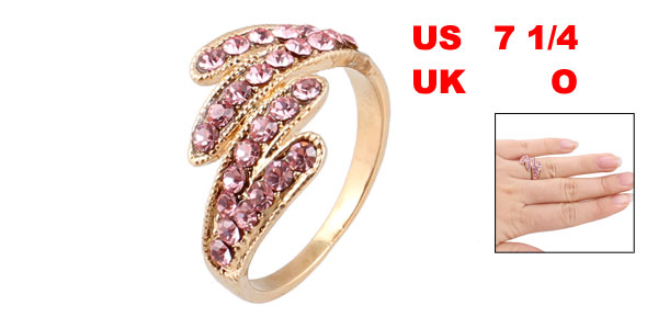 Magenta Rhinestone Inlaid Metal Finger Ring US 7 1/4 for Ladies