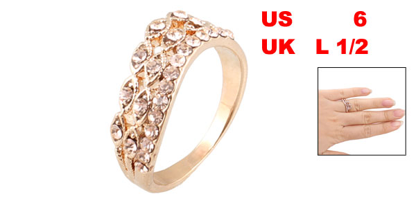 Lady Decorative Light Pink Rhinestones Metal Finger Ring US 6 UK L 1/2