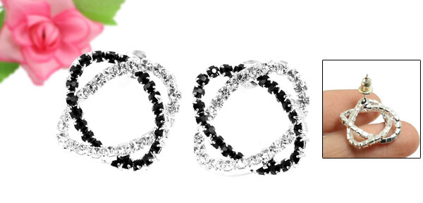 Woman Glittery Rhinestone Flower Style Ear Studs Earrings Pair Black Silver Tone