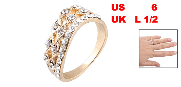 Lady Decorative Silver Tone Rhinestones Metal Finger Ring US 6 UK L 1/2