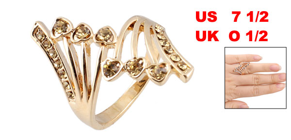US 7 1/2 Gold Tone Glittery Rhinestones Decor Metal Finger Ring for Woman