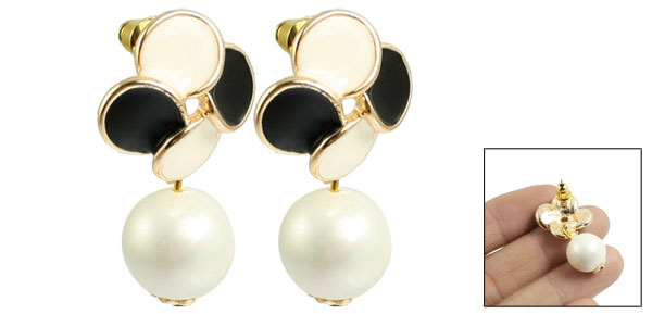Faux Pearl Dangle Flower Design Ear Pin Stud Earrings Gold Tone White for Lady