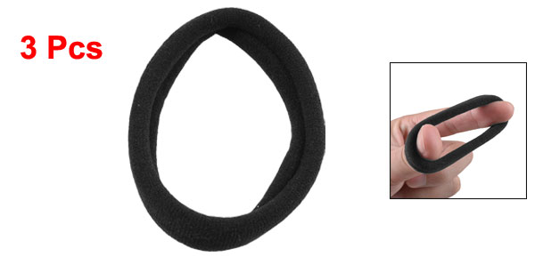 3 Pcs Stretchy Hairband Hair Ties Wrap Ponytail Holder Black for Women