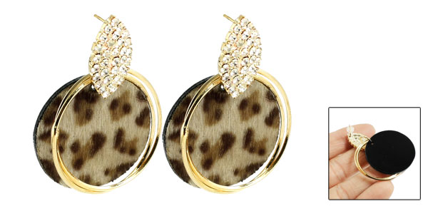 Lady Ear Ornament Rhinestone Detailing Gold Tone Circle Stud Earrings Jewelry Pair