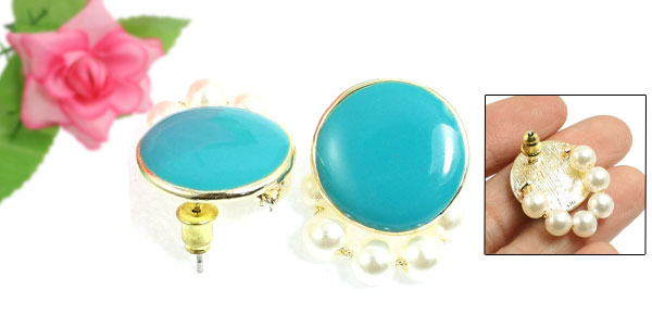 Gold Tone Metal White Faux Pearl Round Plastic Pendant Dangling Ear Pin Stud Earrings Pair
