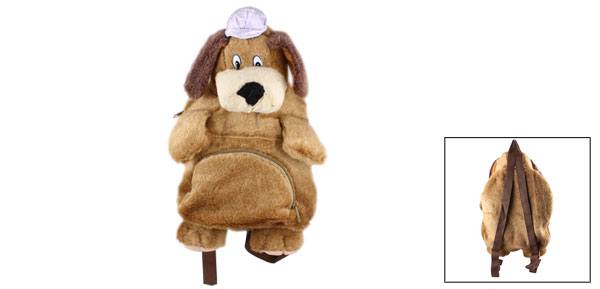 Brown Plush Dog Shape Double Zippered Pockets Backpack Bag for Kid