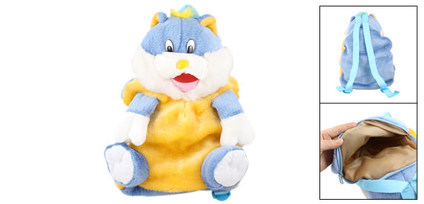 Blue White Yellow Plush Cat Shape Adjustable Shoulder Strap Backpack Bag for Kid
