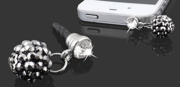 Black Rhinestone Ball 3.5mm Earphone Ear Cap Anti Dust Plug Cover