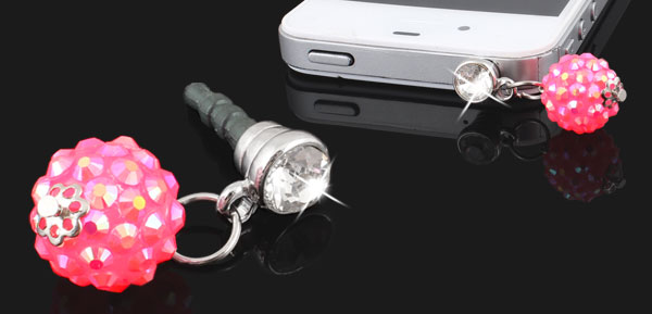 Pink Rhinestone Ball 3.5mm Earphone Ear Cap Anti Dust Plug Cover