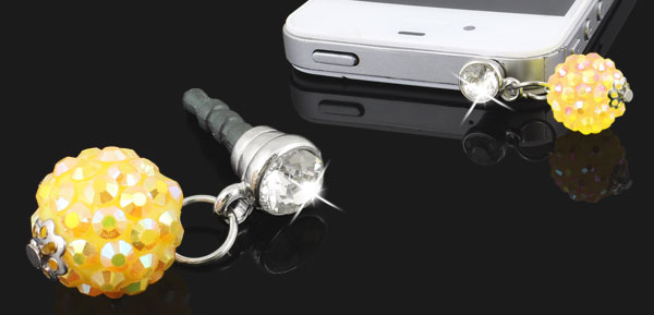 Yellow Rhinestone Ball 3.5mm Earphone Ear Cap Anti Dust Plug Cover