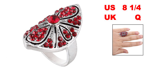 Red Rhinestone Inlaid Oval Metal Finger Ring US 8 1/4 for Lady