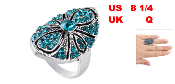 Teal Blue Rhinestone Inlaid Oval Metal Finger Ring US 8 1/4 for Lady