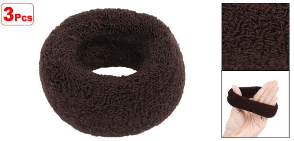 3Pcs Hairstyling Dark Brown Terry Ponytail Holder 1.6