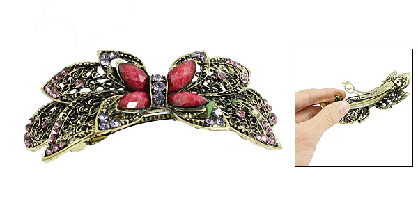 Women Purple Glittery Rhinestone Detailing Flower Shaped Hair Clip French Barrette Bronze Tone
