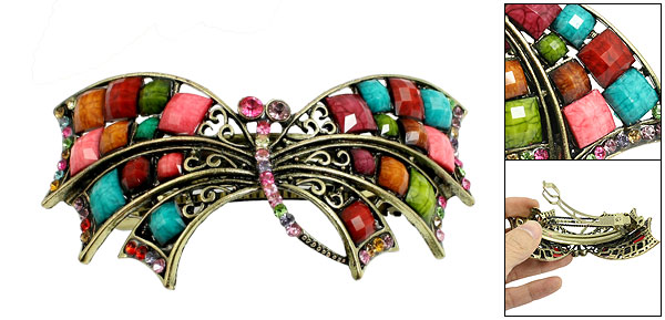Ladies Colored Faceted Bead Rhinestone Decoration Butterfly Shaped Hair Clip French Barrette Bronze Tone