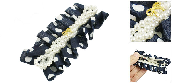 Gold Tone Bowknot Accent Blue White Chiffon Alligator Hairpin for Lady