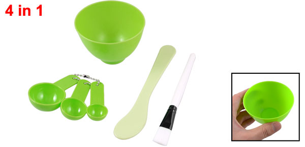 Beauty Tool Green Plastic 4 in 1 DIY Facial Mask Bowl w Stick Set