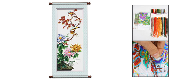 Flowers Leaves Birds Pattern Pattern Cross Stitch Counted Kit Set