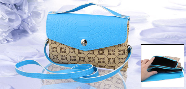 Woman Zippered 2 Compartments Beige Blue Faux Leather Shoulder Hand Bag