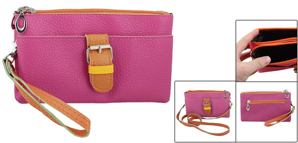 Zippered 4 Compartments Magenta Faux Leather Shoulder Hand Bag for Lady