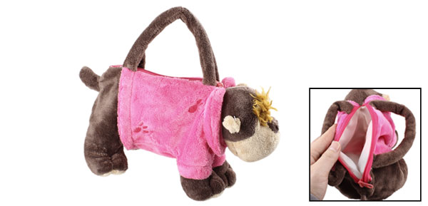 Brown Magenta Plush Dog Shaped Zip Up Closure One Compartment Handbag for Girls