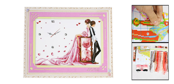 Boy Girl Clock Pattern Cross Stitch Counted Gift Handmade Kit