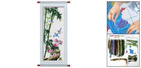 Woman Bamboo Flowers Pattern Cross Stitch Counted Gift Handmade Kit