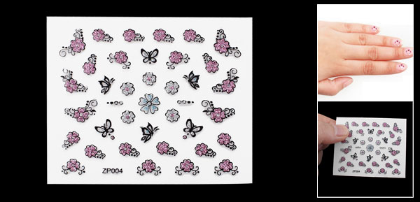 Pink Flowers Black Butterfly Plastic 3D Fingernails Nail Stickers