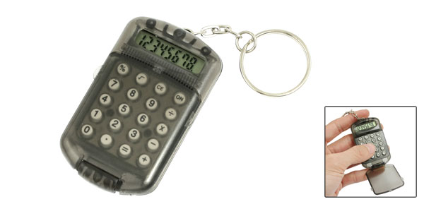 Battery Powered 8 Digits LCD Display Electronic Calculator Clear Gray w Keychain