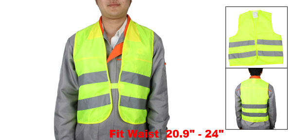 Yellowgreen Gray High Visibility Safety Warning Reflective Vest
