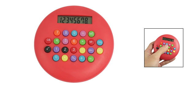 Red Plastic Battery Power 8 Digits LCD Display Round Electronic Calculator