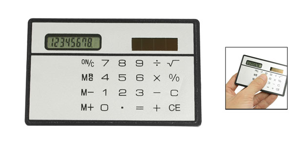 Black Gray Shell 4 Row Digits Touch Screen Solar Power Energy Calculator