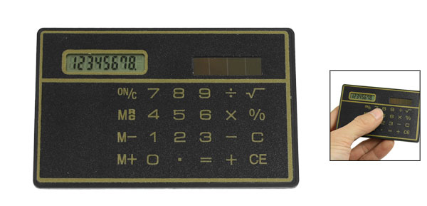 Travel 8 Digits Ultrathin Touch Screen Solar Energy Calculator Black Yellow