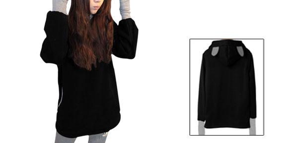 Ladies Contrast Color Thumb Hole Hooded Sweatshirt Black S
