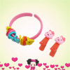 Girls Pink Rabbit Accent Alligator Hair Clips Circle Detail Brace...