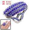 "Royal Blue Rhinestone Accent 0.12"" Width Finger Ring Silver Tone ..."