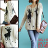 Ladies Deer Pattern Stretchy Long Sleeves Winter Knitted Fluffy L...