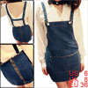 Ladies Back Zipper Up Pockets Hot Denim Suspender Dress Blue S