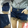 Ladies Faux Fur Hem Pockets Denim Belt Loop Winter Jeans Shorts B...