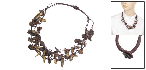 Ladies Women Coconut Shell Multi Charms Layered Long Necklace Coffee Color
