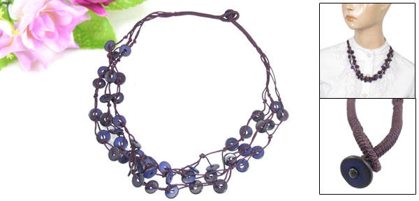 Women Three Layer Braided Coconut Shell Chain Necklace Dark Purple