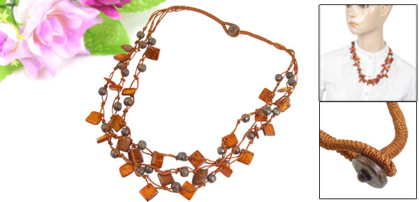 Ladies Wood Square Shape Three Layer Braided Bead Chain Necklace Orange Red