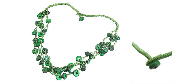 Lady Women Green 3 Layer Coco Shell Disc Chock Chain Necklace