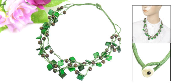 Women Green Brown 3 Layer Coco Shell Square Shape Beads Chock Chain Necklace