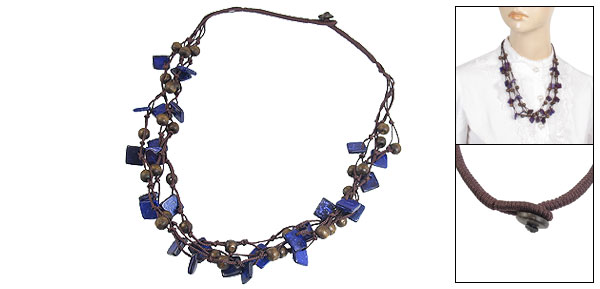 Dark Purple Three Layer Braided Square Shape Beads Chain Necklace for Women