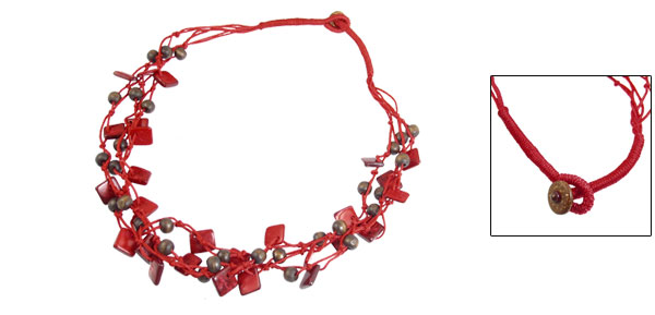 Red Brown 3 Layers Wooden Charm Coconut Shell Multilayer Necklace