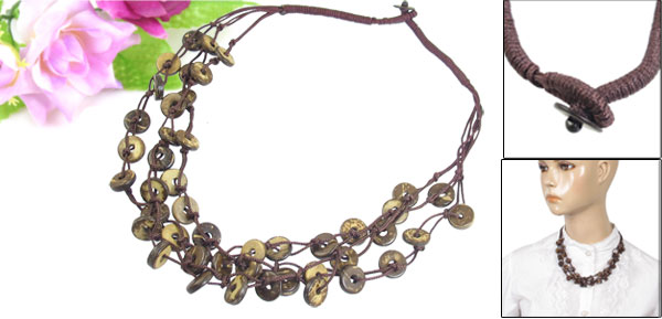 Coffee Color Three Layer Braided Coconut Shell Chain Necklace for Women