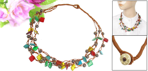 Multicolor Nylon Cord Braid 3 Layer Pendant Square Coco Beaded Necklace Chain