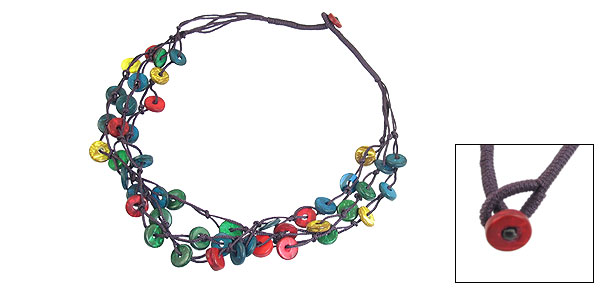 Colorful Nylon Braided Wooden Charm Coconut Shell Chain Necklace for Women