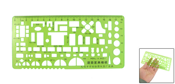 18cm Rectangle Shape Electrician Template Feet Template Ruler Clear Green